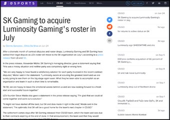 SK Gaming to acquire Luminosity Gaming's roster in July