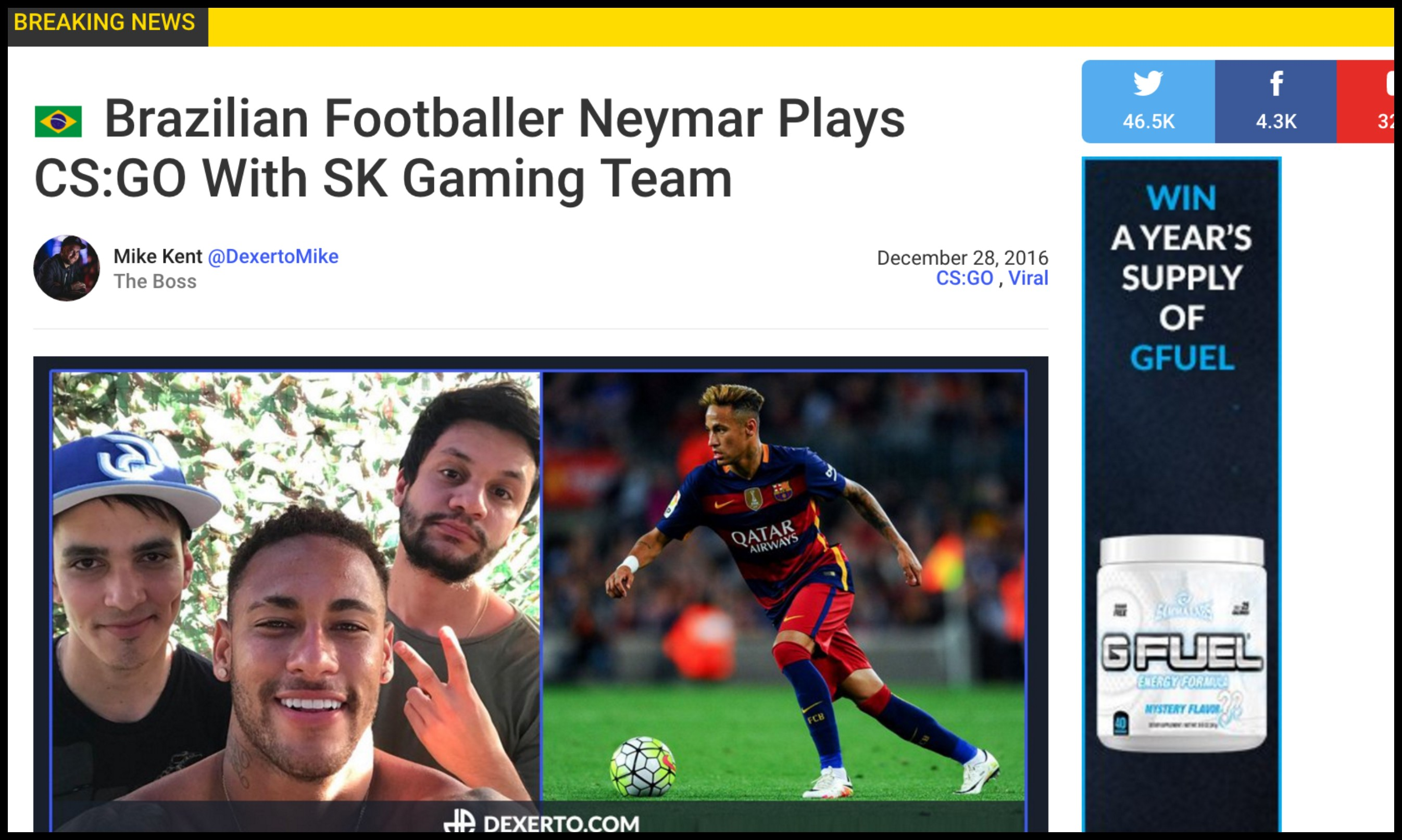 Brazilian Footballer Neymar Plays CS:GO With SK Gaming Team