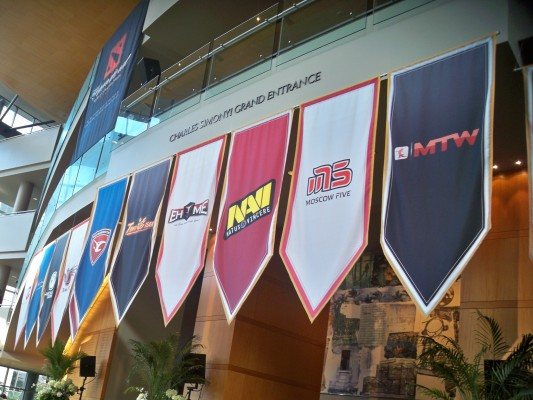 The team banners of The International.